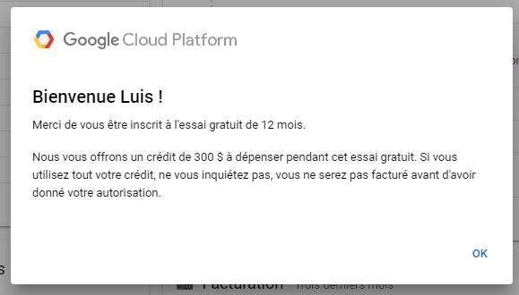 Essai gratuit de 12 mois Google Cloud Platform